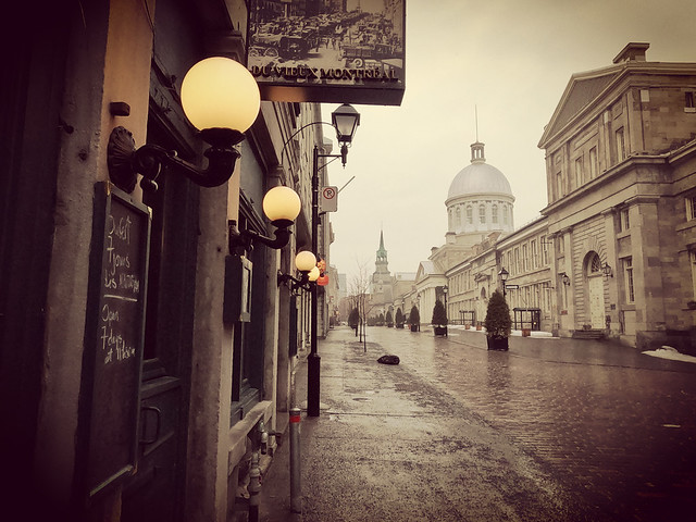 Rainy day in Old Montreal , Canada