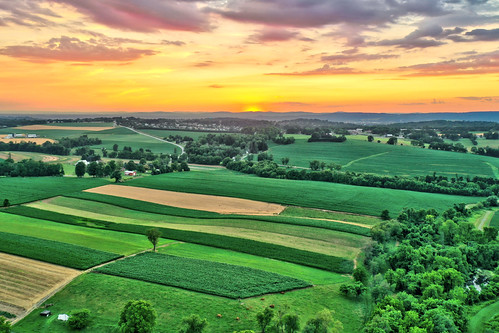 aerial drone sunset pennsylvania york county red lion