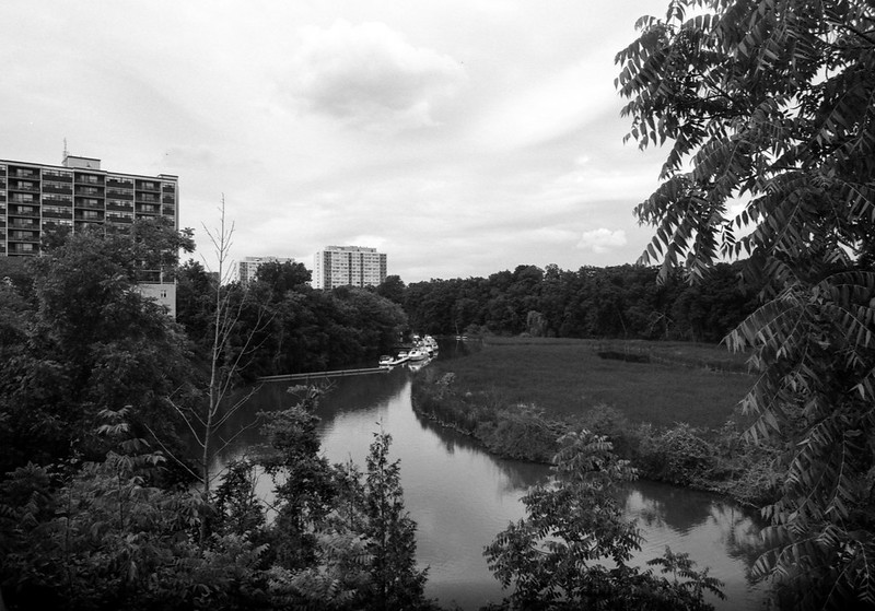 Sixteen Mile Creek and Apartment Buildings