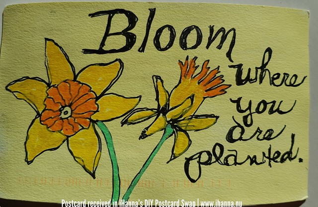 DIY postcard Bloom where you are planted - for iHanna made by Karen T, Virginia US