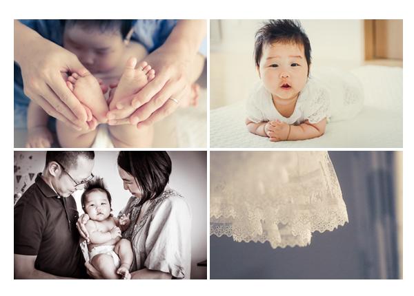 自宅でファミリーフォト撮影 ベビードレス 赤ちゃんのあんよ