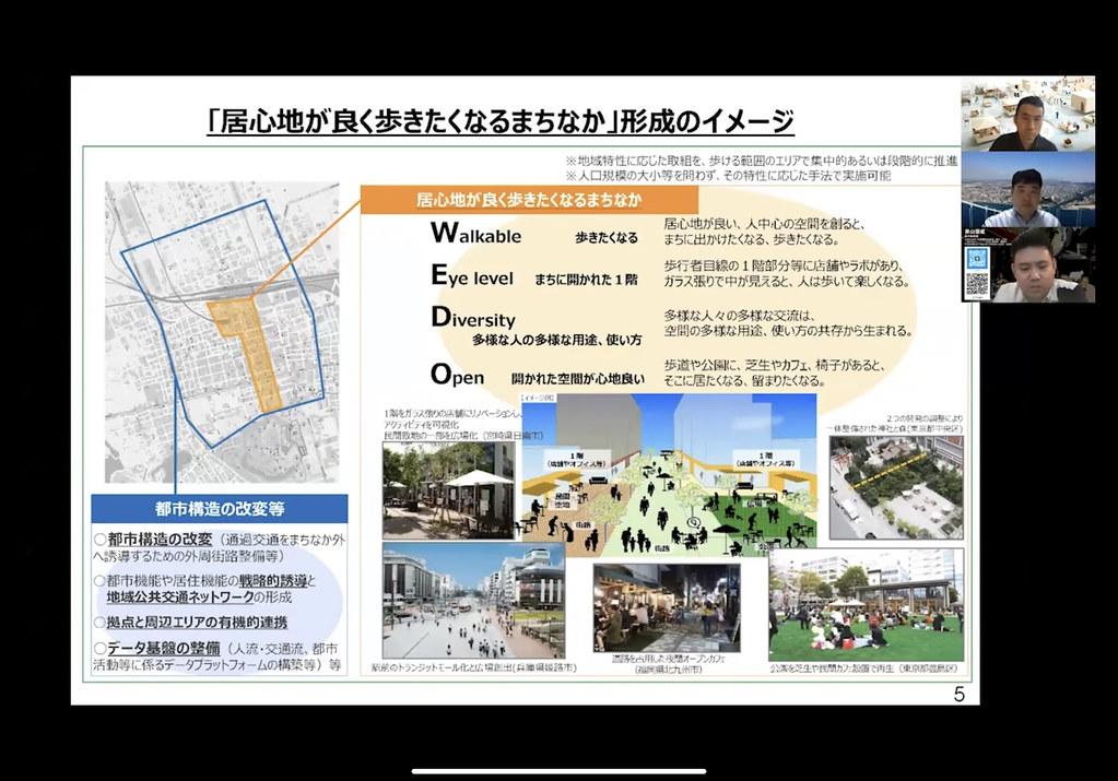 「歩きやすい都市づくり」に向け先を見据えた空間の検討