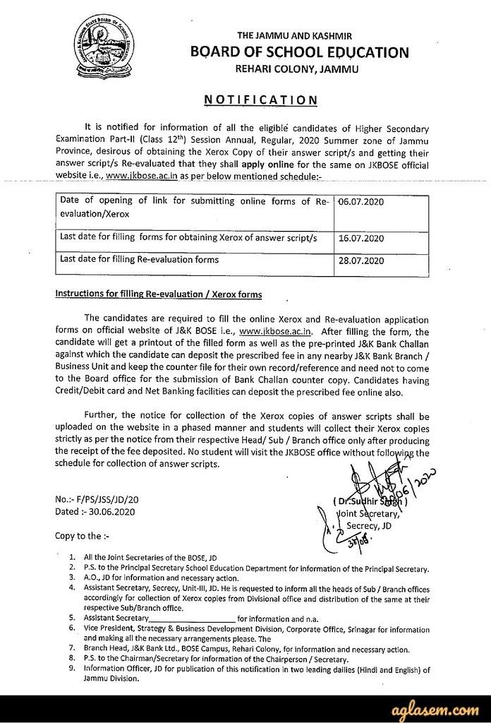 JKBOSE 12th Result 2020 Jammu Annual Regular Summer Zone (Out) – Check Merit List at jkbose.ac.in