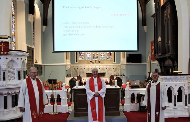 Canon Robert Warren, Archbishop Michael Jackson and the Revd Nigel Pierpoint in Christ Church Taney on St Peter's Day 2020.