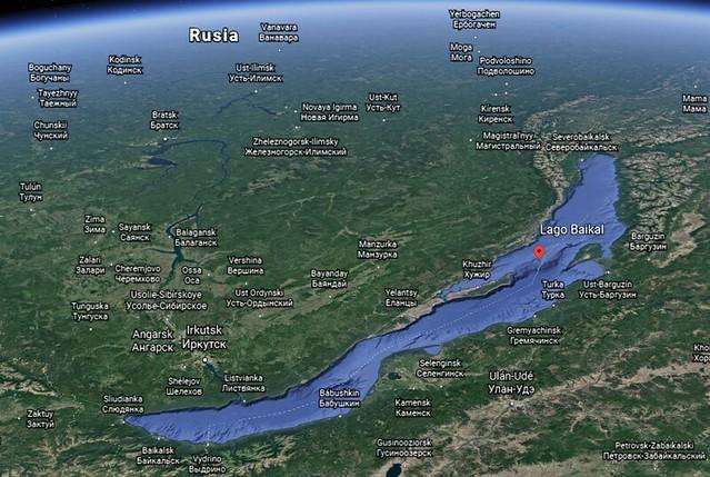 Mapa del Lago Baikal (Fuente: Google Earth)
