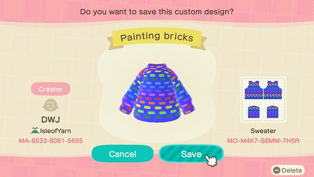 ACNH painting bricks sweater code