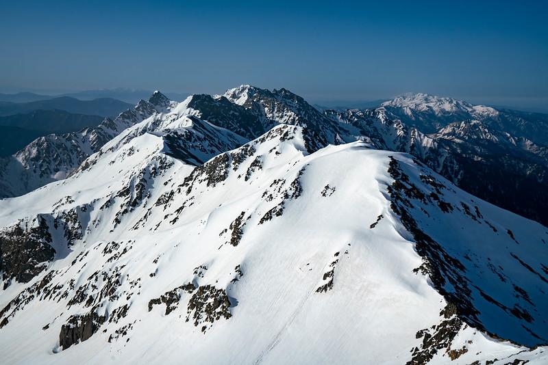 槍ヶ岳の山頂から穂高連峰