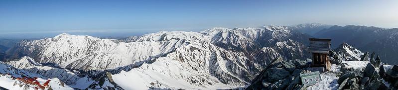 槍ヶ岳の山頂パノラマ