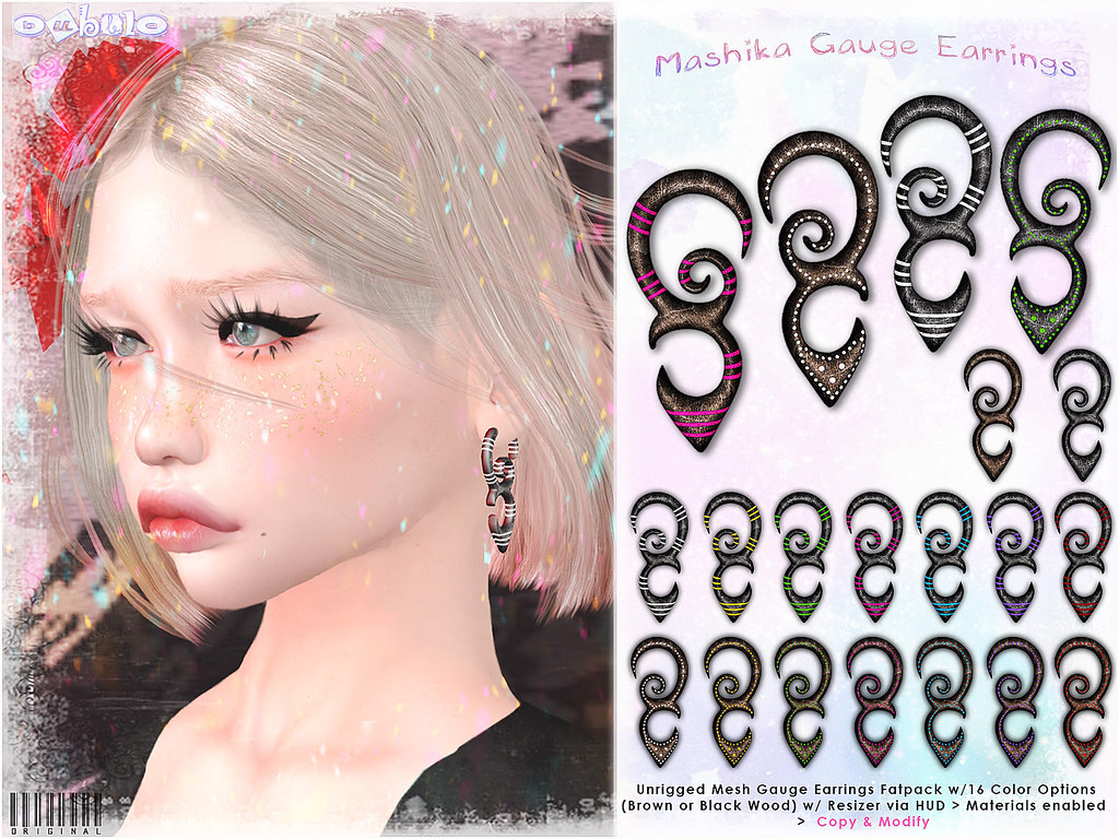 [ bubble ] Mashika Gauge Earrings Fatpack