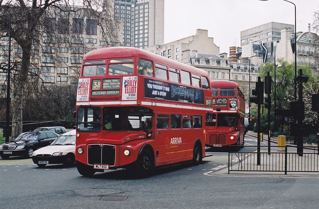 Routemasters at Hyde Park Corner.