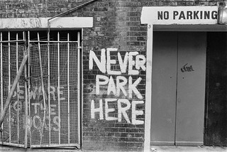 Never Park Here, Falconberg Mews, Soho, Westminster, 1987 87-2j-23-positive_2400