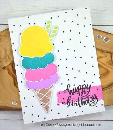 Jen Carter 3 Scoops Birthday Ice Cream Dotted