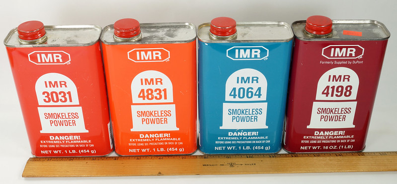 RD19989 4 Vintage IMR Smokeless Power Tins 4198, 4831, 3031, & 4064 DSC08570