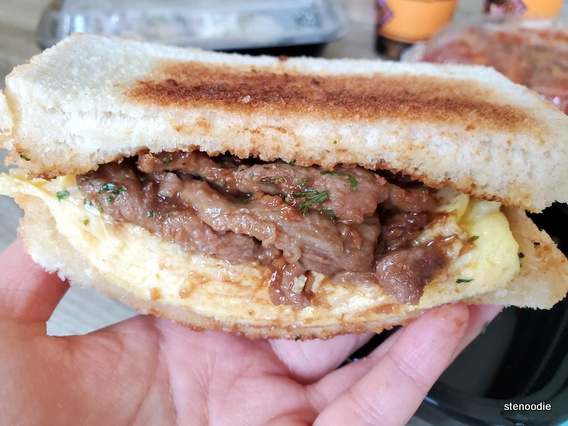 Satay Beef with Eggs Sandwich