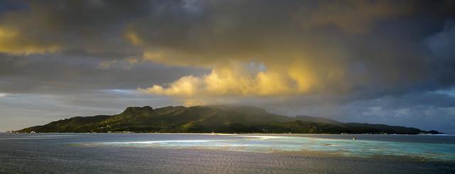 Approaching Bora Bora in the Sunrise