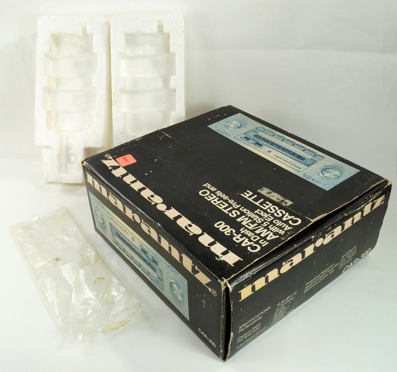 RD28745 Rare 1978 Silverface Marantz AM-FM Cassette Car Stereo CAR-300 in Original Box with Unused Faceplate DSC08544