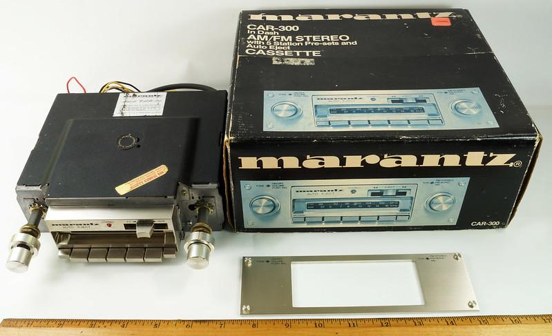 RD28745 Rare 1978 Silverface Marantz AM-FM Cassette Car Stereo CAR-300 in Original Box with Unused Faceplate DSC08528