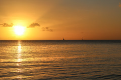 Beautiful sunset at the beach in Martinique, French Caribbean