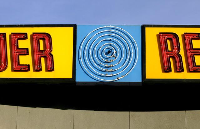 Tower Records Pulsating Bullseye Neon