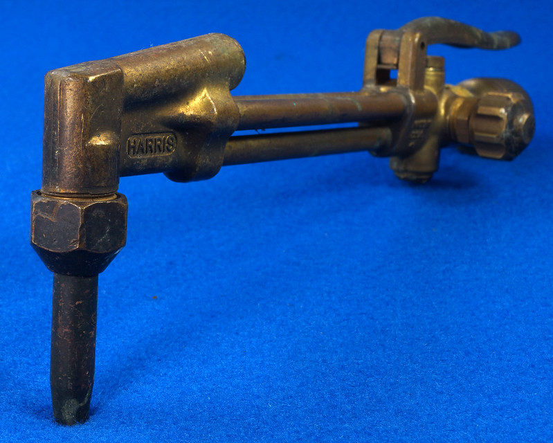 RD19453 Vintage Harris Brass 36-2 Cutting Torch Head Acetylene Oxygen Welding DSC08611