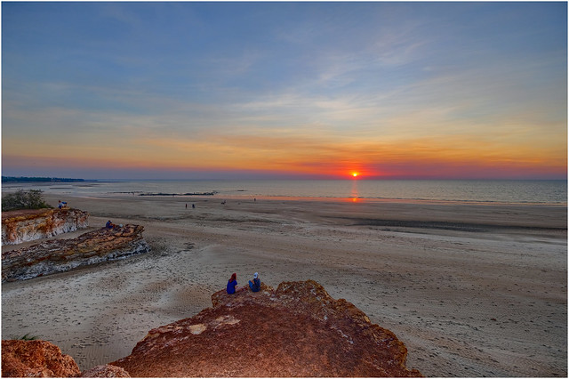 Timor Sea sunset with lots of bonus bushfire smoke, Dripstone Cliffs, Darwin Harbour, NT, Australia