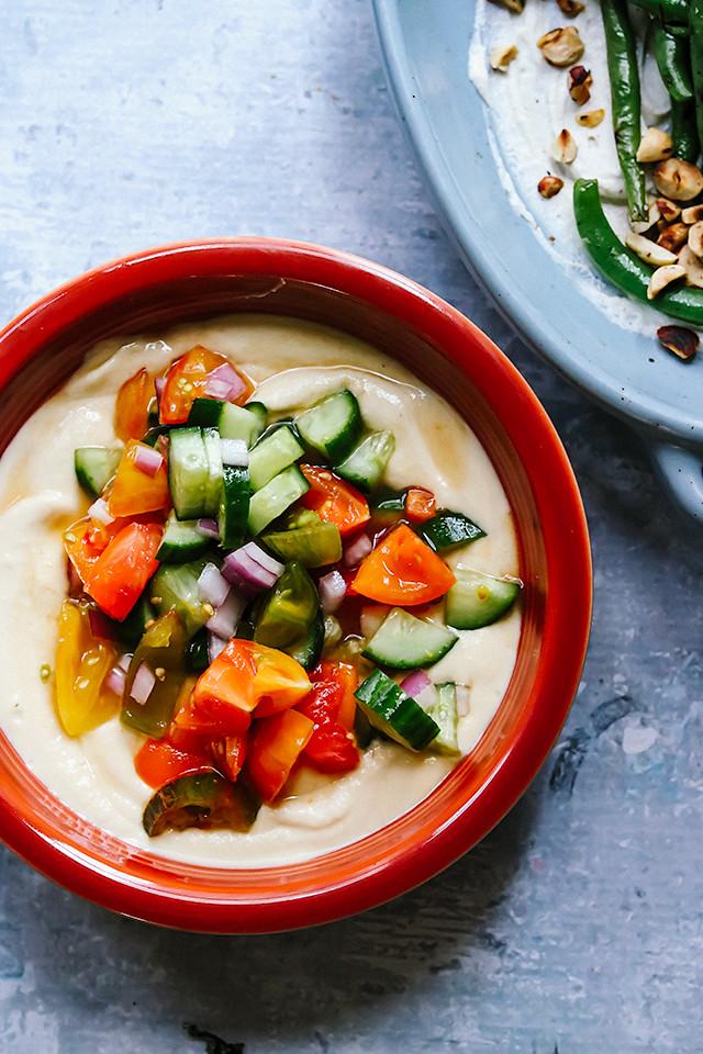 Hummus Soup with Heirloom Tomato Salsa