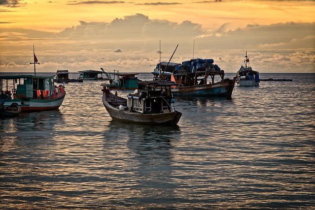 Fisher Boats at Sunset, Phu Quoc Island, Vietnam