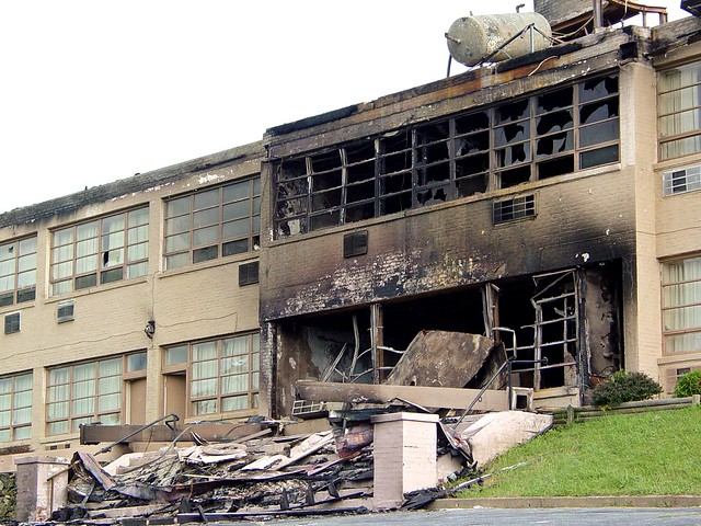 Skyline Parkway Motel following arson fire