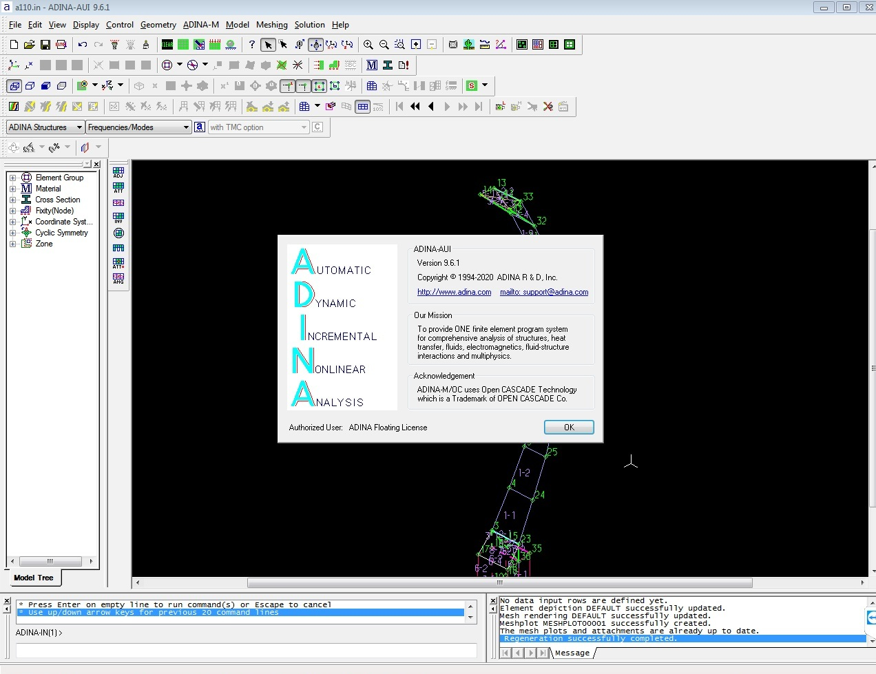 Working with ADINA System 9.6.1 full license