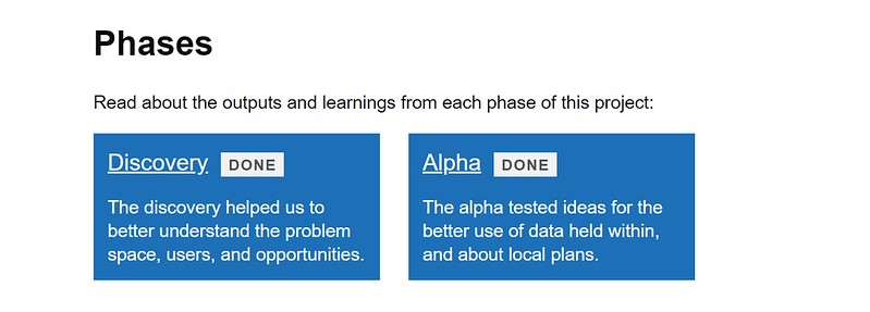 Screenshot of Digital Land website showing that the local plans alpha phase is done