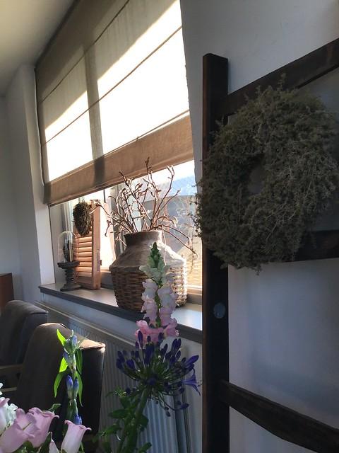 Vouwgordijn rijstfles stolp luik vensterbank