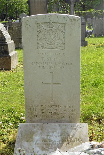 Hollinwood Cemetery, Lancashire, Private T Stott 1916