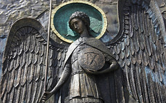 Archangel. The Fragment of Facade of Patriarchal Cathedral of the Resurrection of Christ - the Main Cathedral of the Russian Armed Forces since 2020, 53 km M1 Highway, near Kubinka Town, Odintsovsky District, Moscow Region, Russia. Православнаѧ Црковь.