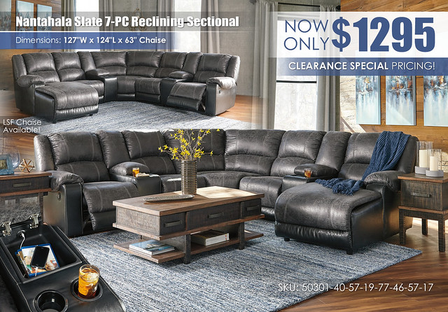 Nantahala Slate 7-PC Reclining Sectional_50301-40-57-19-77-46-57-17-T892