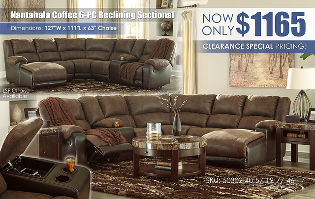 Nantahala Coffee 6-PC Reclining Sectional_50302-40-57-19-77-46-17-T687