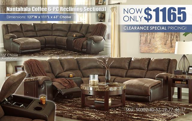 Nantahala Coffee 6-PC Reclining Sectional_50302-40-57-19-77-46-17-T687