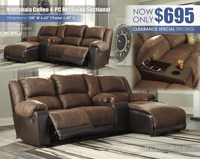 Nantahala Coffee 4-PC Reclining Sectional_50302-40-19-57-17