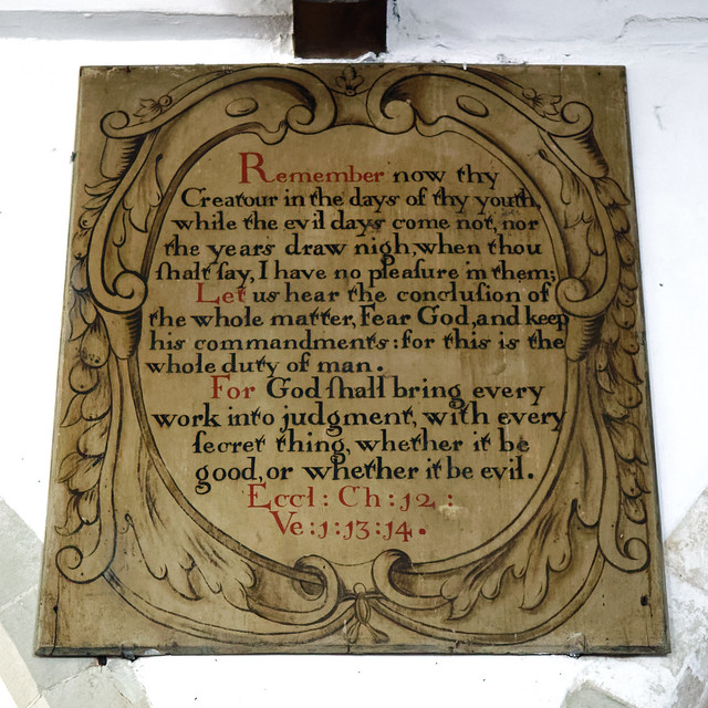 17th-century painted bible verse inscription board in All Saints Church West Stourmouth Kent England 3