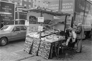 Fish Stall, Goodge Place, Fitzrovia, Westminster, 1987 87-2r-65-positive_2400