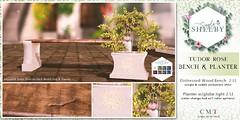 Tudor Rose Bench & Planter Set