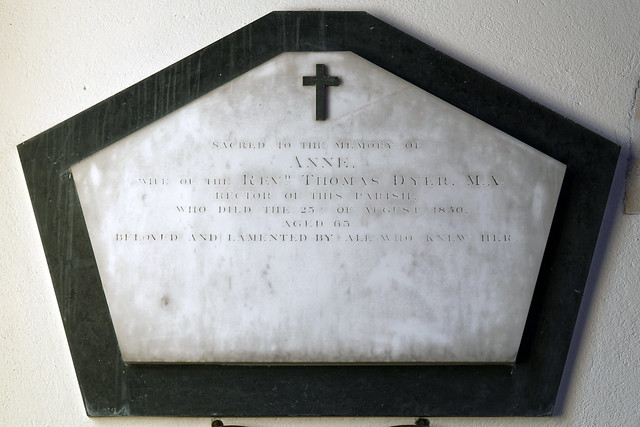 Abbess Roding St Edmund's Church Essex England Anne Dyer 23 August 1850 wife to Rev Thomas Dyer wall tablet