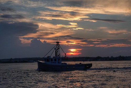 sunset clouds manasquan nj newjersey boat