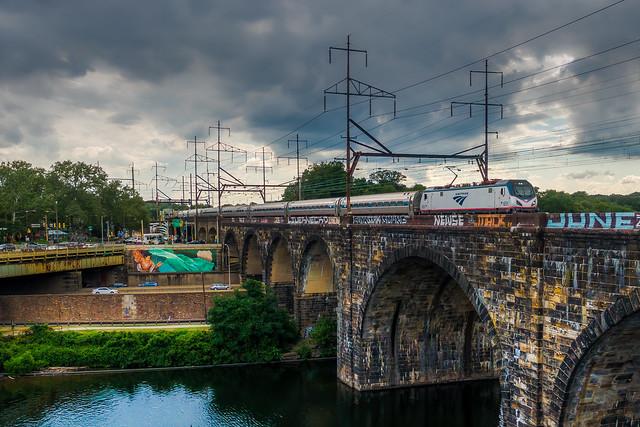 Locomotive #651 leading the Northeast Regional over the Schuylkill on Bridge No. 69.