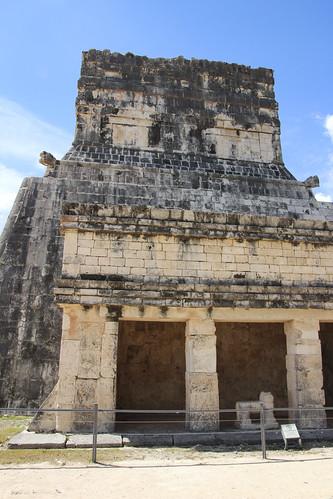 The Temple of the Jaguars (Templo de los Tigres) built in the walls of the Ball Court, Chichen Itza, Mexico's Yucatán Peninsula