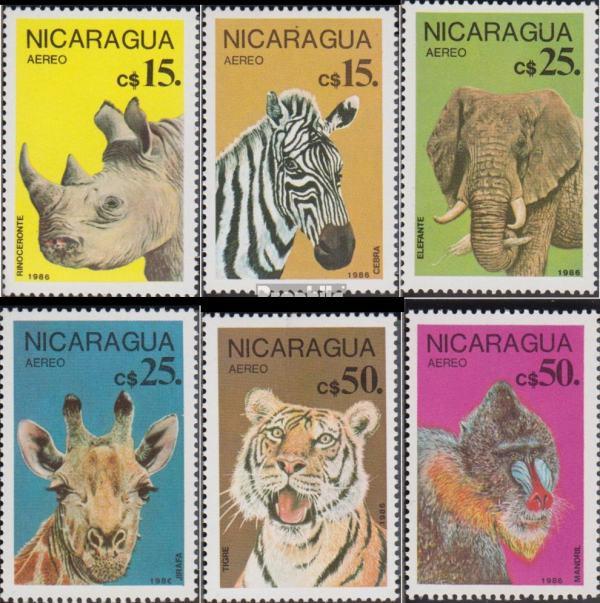 Známky Nikaragua 1986 Chránené africké zvieratá séria MNH