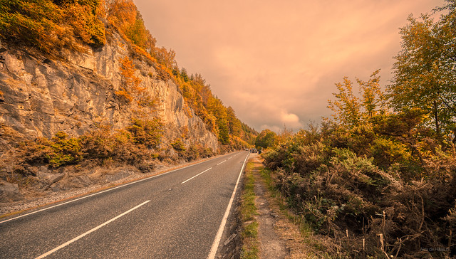 A82 along Loch Ness seconds after Nessie crossed the road and walked out of frame.