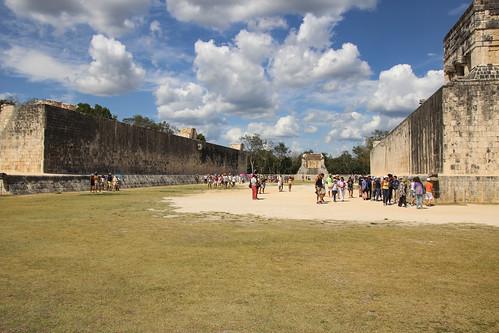 Tourists walking through The Ball Courts, Chichen Itza, Mexico's Yucatán Peninsula