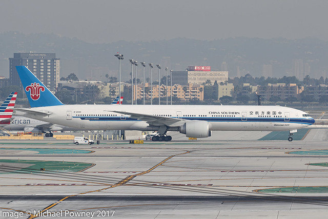 B-2099 - 2014 build Boeing B777-31BER, taxiing to gate shortly after arrival at Los Angeles
