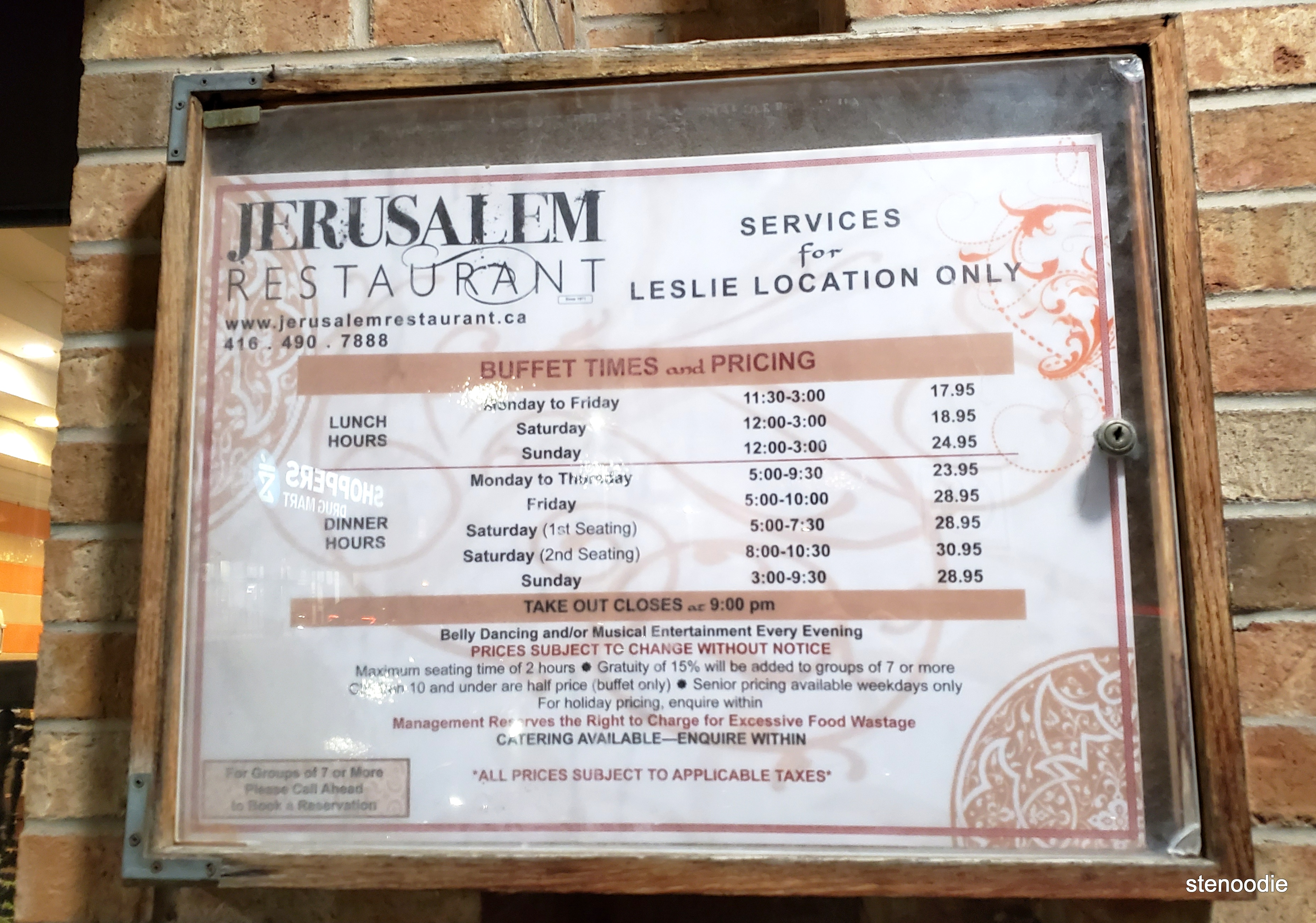 Jerusalem Restaurant Leslie buffet times and pricing