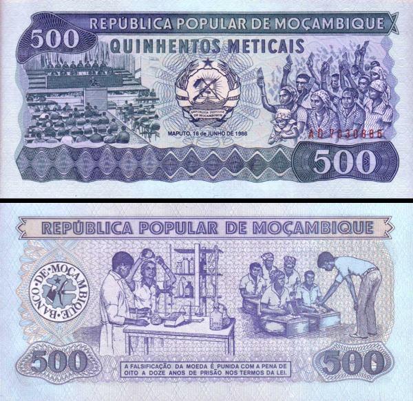500 Meticias Mozambik 1986, P131b
